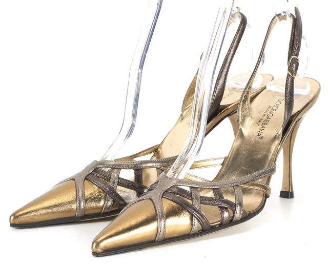 DOLCE & GABBANA Gold Leather Pointed Toe Slingback Heels