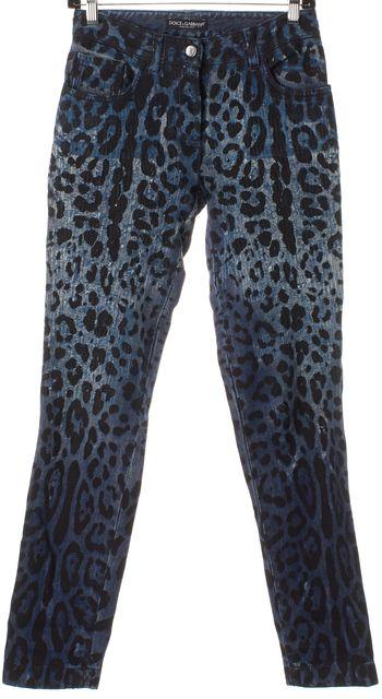 DOLCE & GABBANA Blue Leopard Print Textured Skinny Jeans