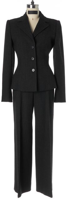 DOLCE & GABBANA Dark Charcoal Gray Wool Herringbone Pant Suit