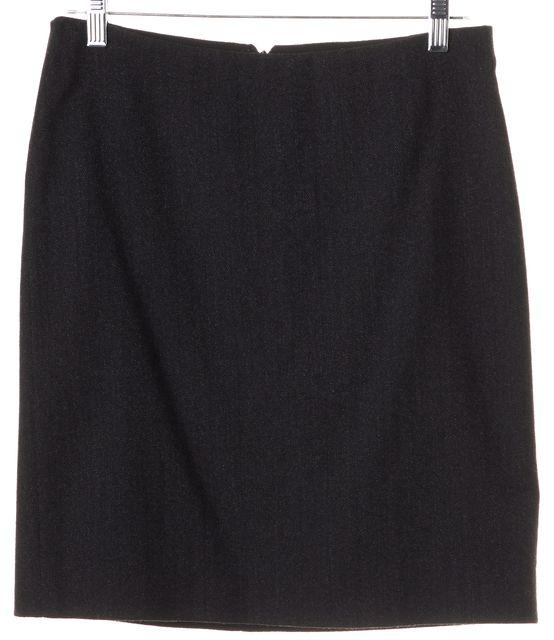 DOLCE & GABBANA Dark Gray Wool Herringbone Straight Skirt