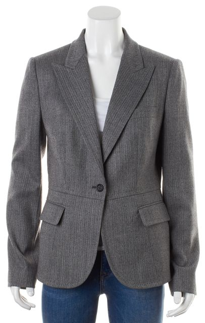 DOLCE & GABBANA Gray Wool Leopard Print Lining One Button Blazer