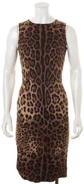 DOLCE & GABBANA Brown Leopard Printed Sleeveless Sheath Pencil Dress