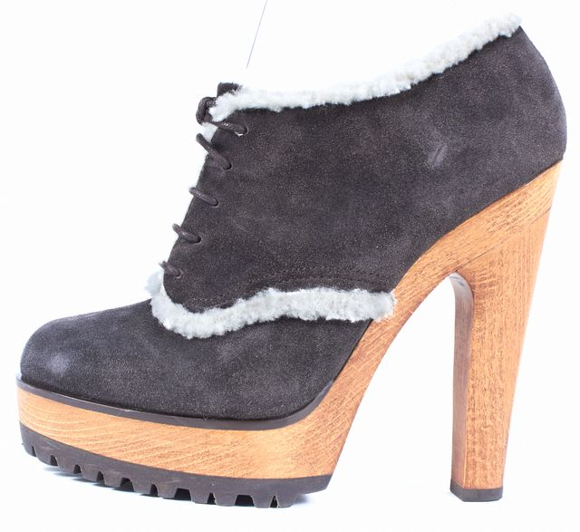 DOLCE & GABBANA Gray Suede Shearling Trim Lace Up Platform Ankle Booties