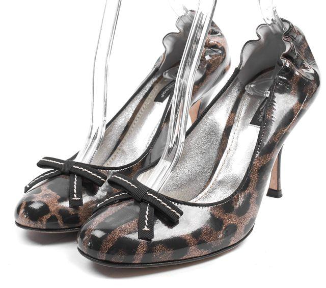 DOLCE & GABBANA Brown Leopard Print Patent Leather Pumps