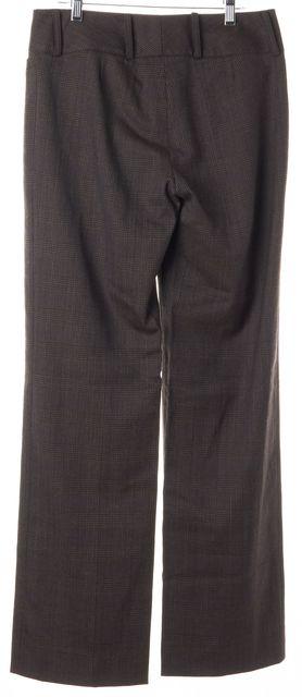 DOLCE & GABBANA Brown Blue Houndstooth Wool Trouser Dress Pants