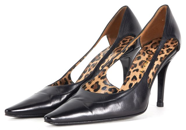 DOLCE & GABBANA Black Leather Pointed Toe Mexico Heels