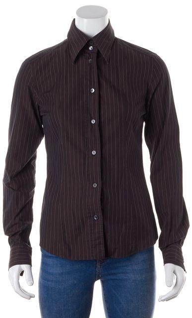 DOLCE & GABBANA Brown Pin Striped Button Down Shirt Blouse