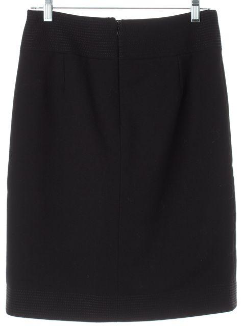 DOLCE & GABBANA Black Wool Button Front Straight Skirt