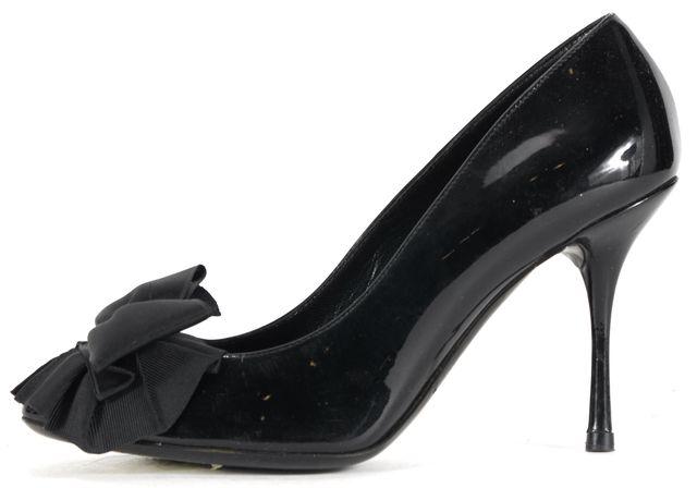 DOLCE & GABBANA Black Patent Leather Bow Pump Heels