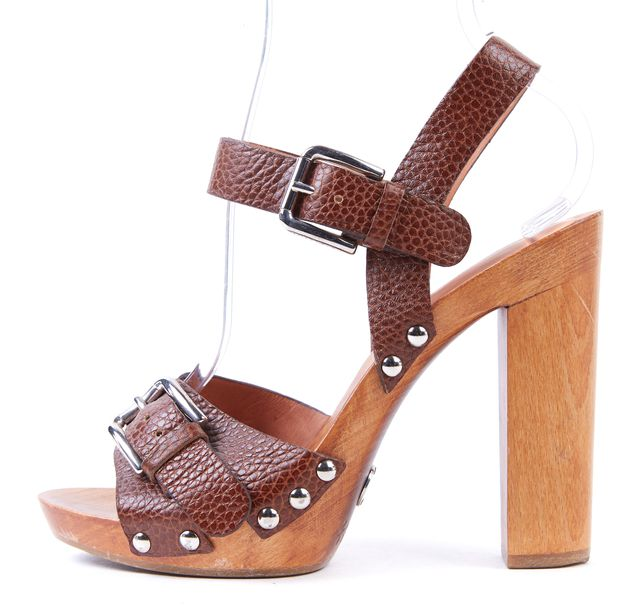 DOLCE & GABBANA Brown Pebbled Leather Wooden Sandal Heels