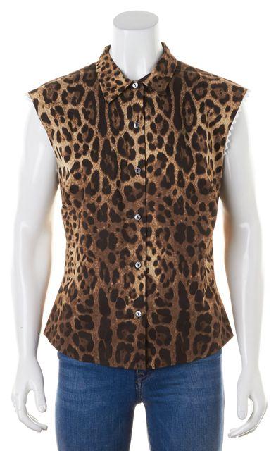 DOLCE & GABBANA Brown Leopard Print Button Down Shirt Top
