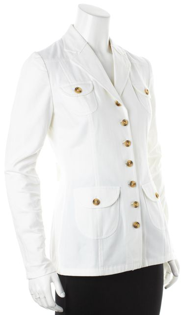 DOLCE & GABBANA White Ruched Sleeves Button Down Jacket