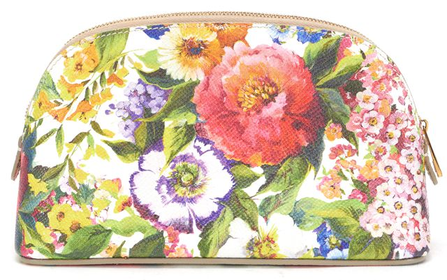 DOLCE & GABBANA Multi-Color Floral Printed Leather Pouch Cosmetic Bag