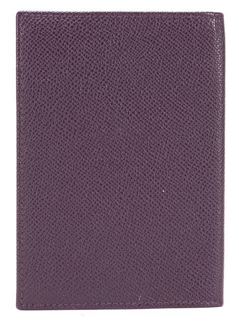 DOLCE & GABBANA Eggplant Purple Pebbled Leather Passport Holder