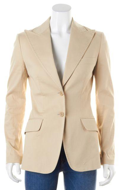 DOLCE & GABBANA Beige Stretch Cotton Two Button Blazer