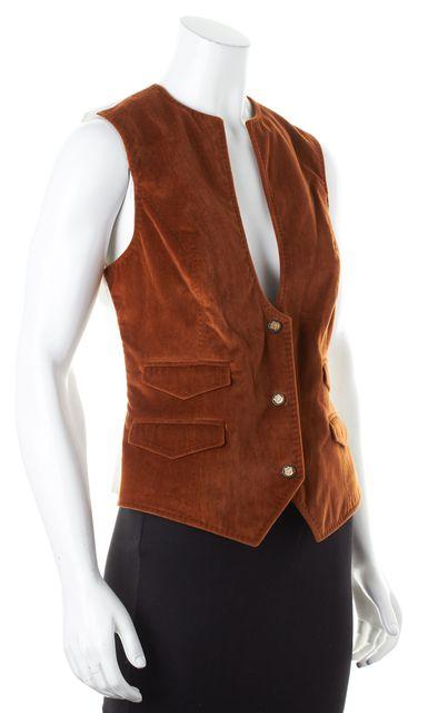 DOLCE & GABBANA Brown Velvet White Pinstripe Satin Back Vest