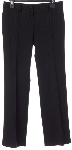 DOLCE & GABBANA Black Red Pinstriped Wool Trouser Dress Pants