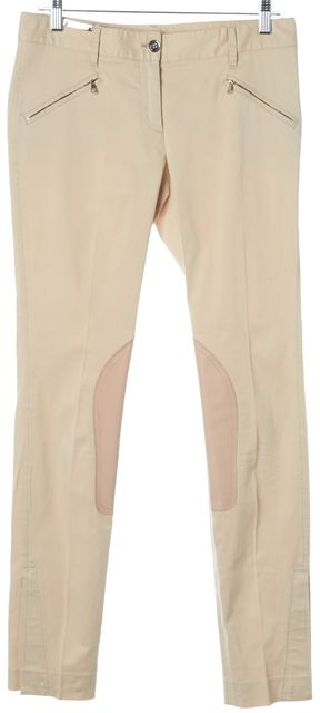 DOLCE & GABBANA Beige Solid Cotton Leather Stitched Casual Pants