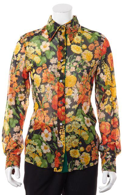 DOLCE & GABBANA Black Yellow Orange Semi Sheer Cotton Floral Blouse