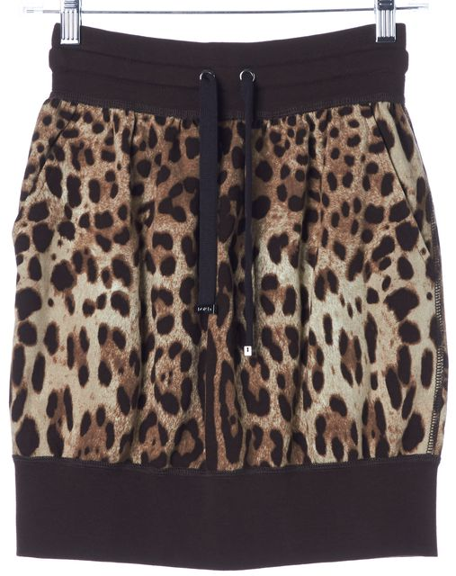 DOLCE & GABBANA Brown Leopard Print Drawstring Straight Skirt