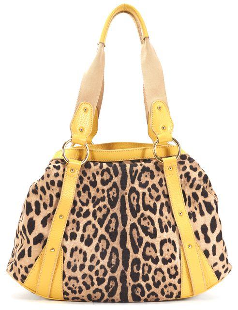 DOLCE & GABBANA Black Beige Yellow Leopard Canvas Leather Shoulder Bag