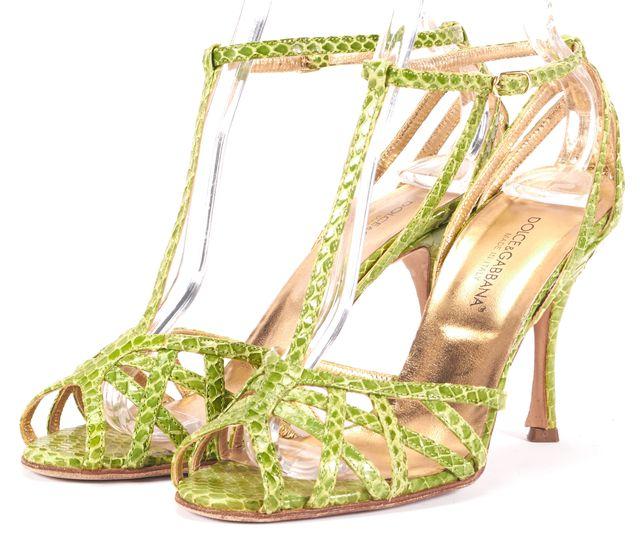 DOLCE & GABBANA Green Snakeskin T-Strap Sandal Heels