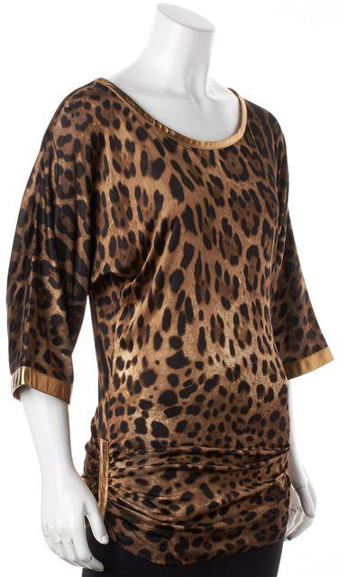 DOLCE & GABBANA Brown Leopard Animal Print Blouse