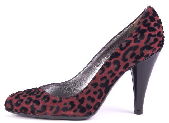 DOLCE & GABBANA Burgundy Black Animal Print Suede Pump Heels