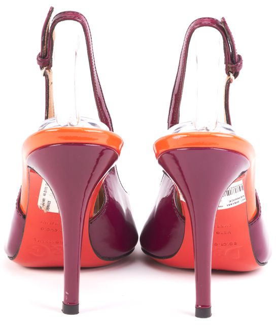 DOLCE & GABBANA Purple Orange Leather Colorblock Slingback Heels