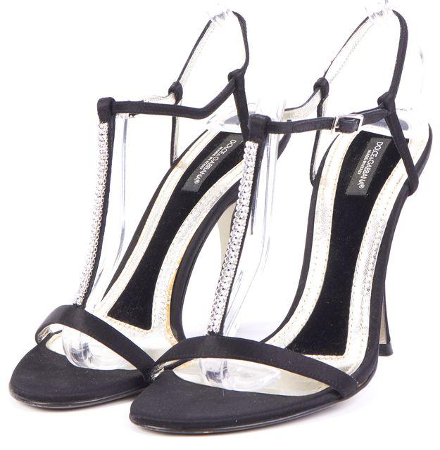 DOLCE & GABBANA Black Rhinestone Embellished T-Strap Heels