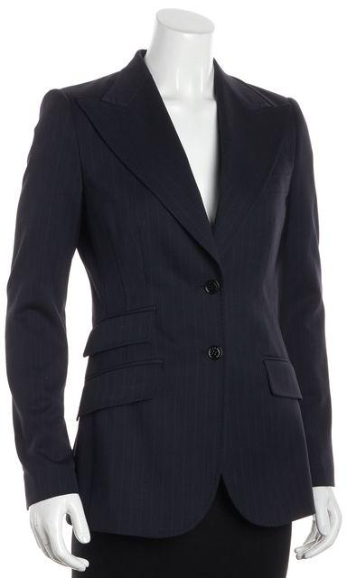 DOLCE & GABBANA Multi-Blue Wool Striped Ticket Pocket Blazer
