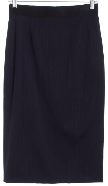DOLCE & GABBANA Multi-Blue Wool Striped Straight Skirt