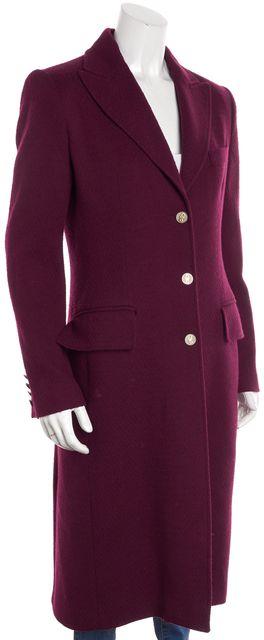 DOLCE & GABBANA Wine Red Wool 3-Button Long Formal Winter Coat