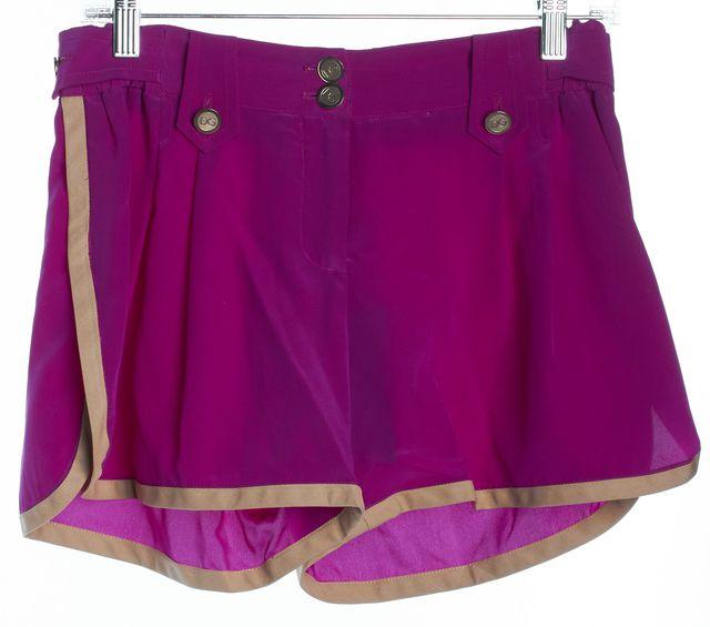 DOLCE & GABBANA Purple Beige Pleated Front Dress Shorts