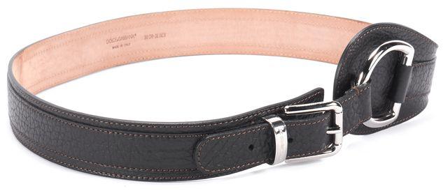 DOLCE & GABBANA Black Leather Silver Buckle Belt w/ Dust Cover