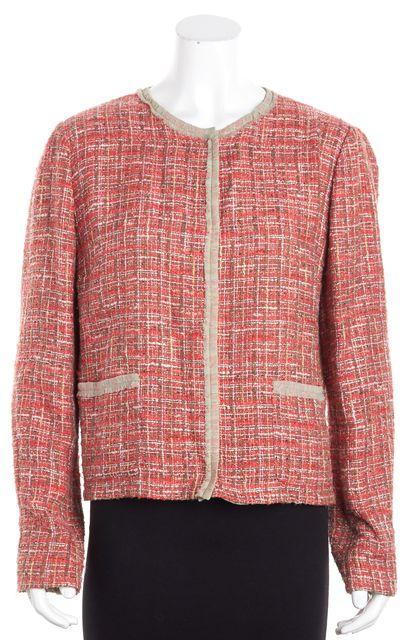 DOLCE & GABBANA Pink Long Sleeve Raw Edge Tweed Button Down Jacket