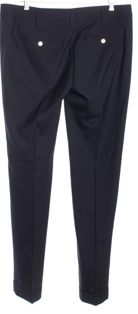 DOLCE & GABBANA Blue Wool Pinstriped Trousers Pants Size IT 46 US 10