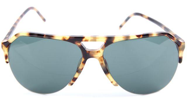DOLCE & GABBANA Beige Tortoise Green Lens Stefano Aviator Sunglasses