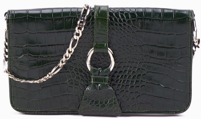 DOLCE & GABBANA Green Alligator Embossed Leather Chain Strap Shoulder Bag
