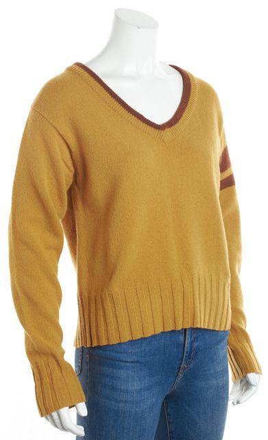 DOLCE & GABBANA Gold Brown Wool V-Neck Sweater