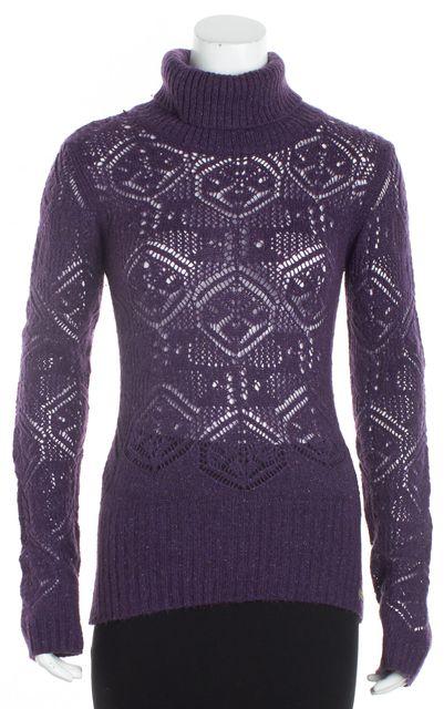 DOLCE & GABBANA Purple Wool Turtleneck Open Knit Sweater