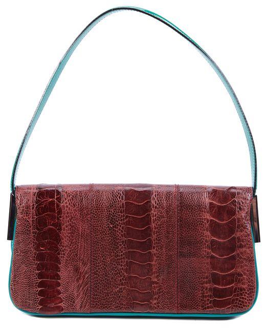 DOLCE & GABBANA Maroon Red Crocodile Print Green-Blue Trim Mini Shoulder Bag
