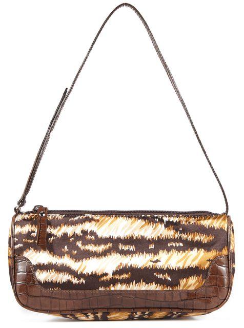 DOLCE & GABBANA Brown Black Yellow Suede Shoulder Bag Handbag