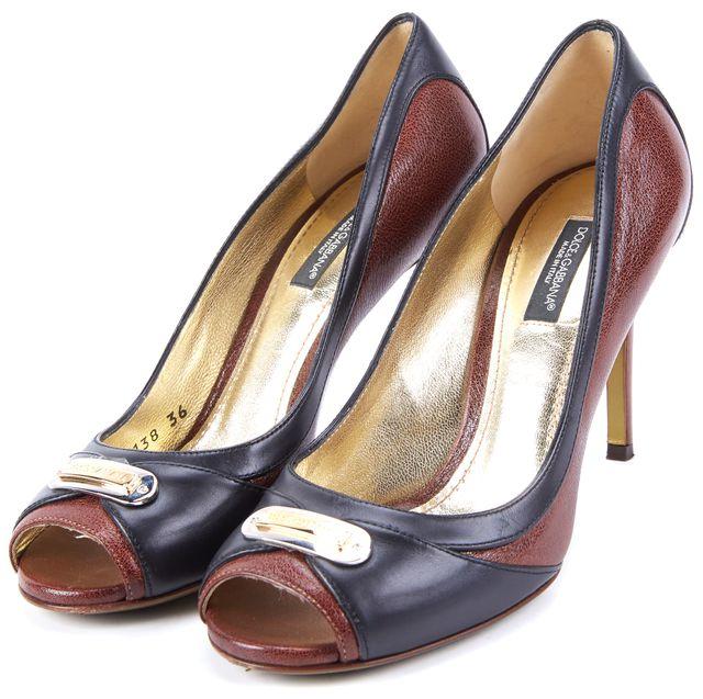 DOLCE & GABBANA Brown Black Leather Peep Toe Pump Heels