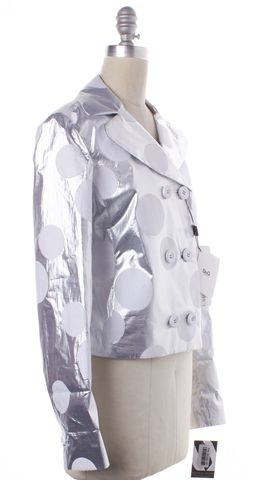 D&G NWT $695 Silver White Polka Dot Double Breasted Jacket Size 6 IT 42
