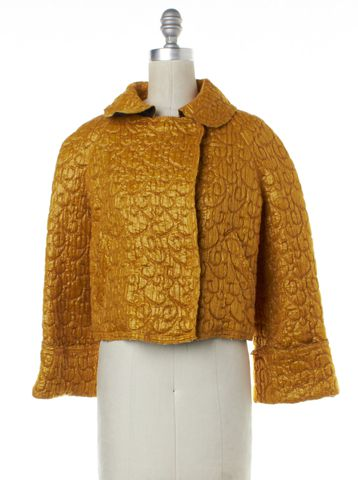 D&G Gold Geometric Wool Cropped Oversized Basic Jacket Size 4 IT 40