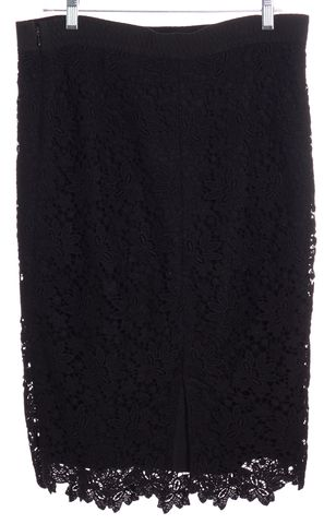 D&G Black Floral Lace Straight Skirt Size 4 IT 40