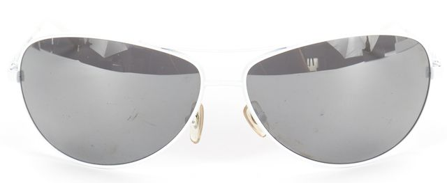 D&G White Wire Frame Silver Mirrored Aviator Sunglasses