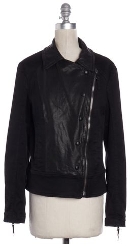 D&G Black Denim Leather Zip Up Moto Jacket Size 8 IT 44