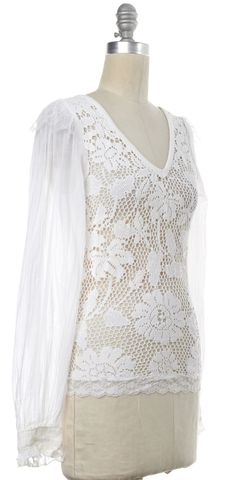 D&G White Crochet Lace Floral Knit V-Neck Top